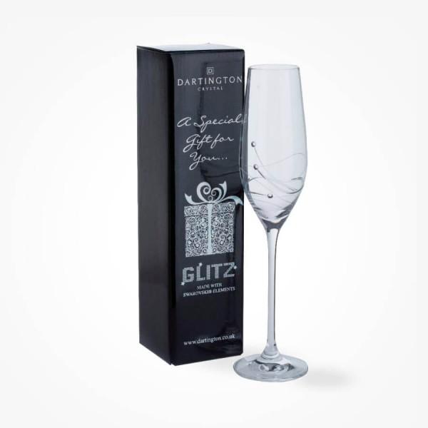 Dartington Crystal Glitz Single Champagne Flute Gift Boxed