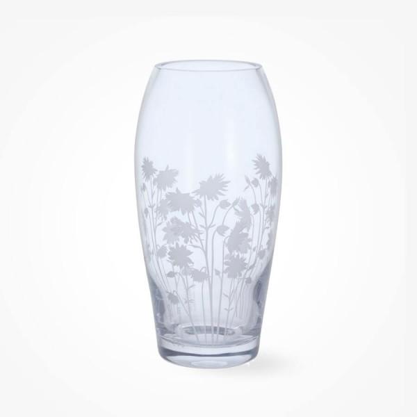 Dartington Crystal Bloom Barrel Vase Aquileqia