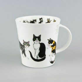 Cat Mug Dunoon Cairngorm Paws for Thought Black & White