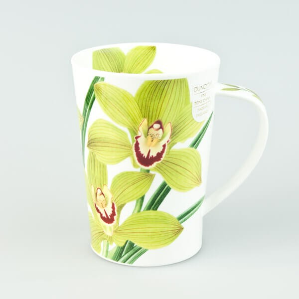 Dunoon mugs Argyll Orchids Green