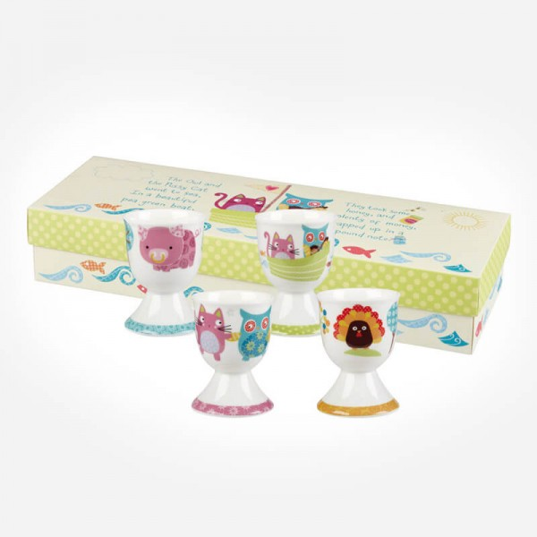 The Owl & The Pussy Cat Set of 4 Cat Egg cups