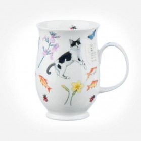 Dunoon Mugs Suffolk Garden Cats Black and White