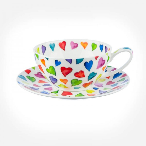 Dunoon Warm Hearts Tea For One Cup & Saucer Gift Box