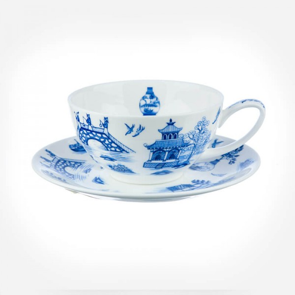 Dunoon Oriental Blue Tea for one cup & Saucer Gift Box