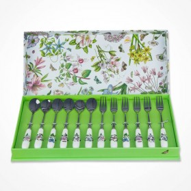 Portmeirion Botanic Garden Pastry Fork and Teaspoon Set of 12