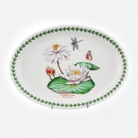 "Exotic Botanic Garden Oval Platter 11"" White Water Lily"