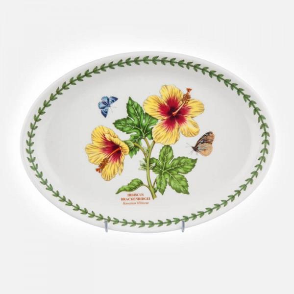 "Exotic Botanic Garden Oval Platter 11"" Hibiscus"