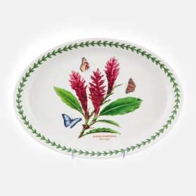 "Exotic Botanic Garden Oval Platter 11"" Red Ginger"
