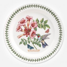 Botanic Garden Birds 10 inch dinner plate Ruby Hummingbird