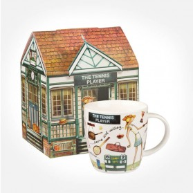 At Your Leisure The Tennis Player mug in giftbox